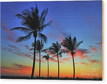 Wood Print featuring the photograph Palm Tree Skies by Scott Mahon