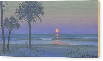 Palmetto Moon Wood Print by Blue Sky