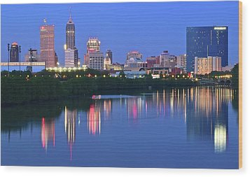 Panoramic Indianapolis Wood Print by Frozen in Time Fine Art Photography