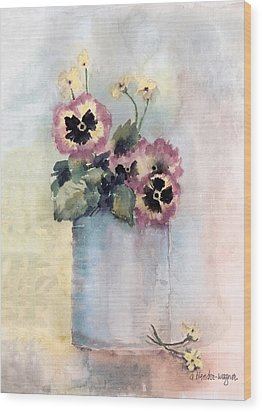 Pansies In A Can Wood Print by Arline Wagner