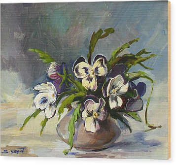 Wood Print featuring the painting Pansies by Tigran Ghulyan