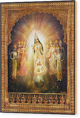 Parashakti Devi - The Great Goddess In Space Wood Print by Ananda Vdovic