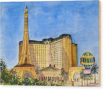 Paris Hotel And Casino Wood Print