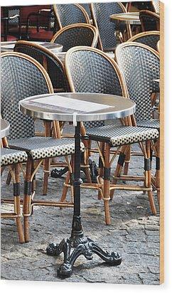 Parisian Cafe Terrace Wood Print