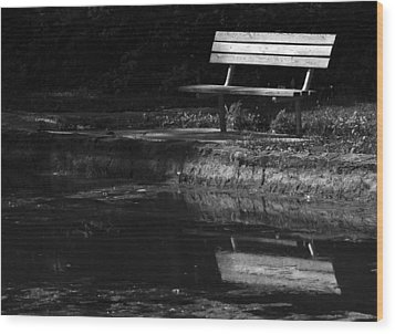 Wood Print featuring the photograph Park Bench Reflections by Wanda Brandon