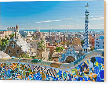 Park Guell Barcelona Wood Print by Luciano Mortula