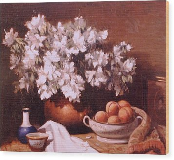 Peaches And Flowers Wood Print by David Olander