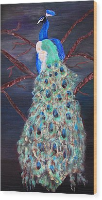 Peacock  Wood Print by Mikki Alhart