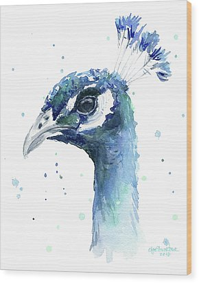 Peacock Watercolor Wood Print by Olga Shvartsur