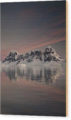 Peaks At Sunset Wiencke Island Wood Print by Colin Monteath