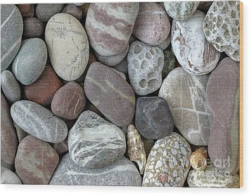 Pebbles In Earth Colors - Stone Pattern Wood Print by Michal Boubin