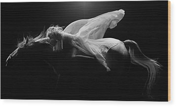 Wood Print featuring the photograph Pegasus Full Bw by Dario Infini