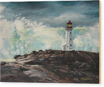 Peggy's Cove Lighthouse Hurricane Wood Print by Patricia L Davidson