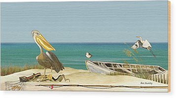 Pelican Fishing Wood Print