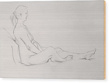 Wood Print featuring the drawing Pencil Sketch 11.2010 by Mira Cooke