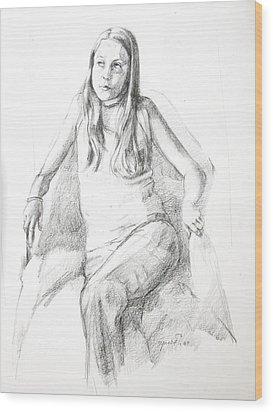 Pensive Girl Wood Print