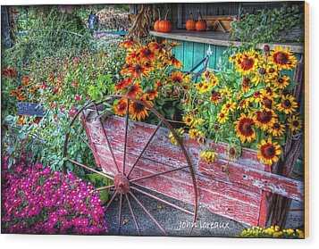 Penza's Red Barn  Wood Print by John Loreaux