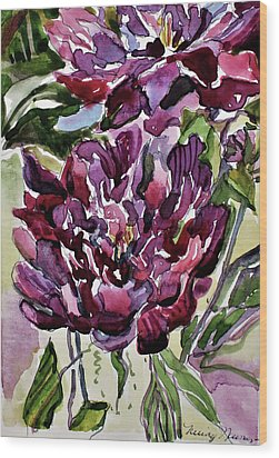 Wood Print featuring the painting Peonies by Mindy Newman