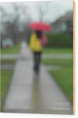 People In The Rain Wood Print by Oleksiy Maksymenko