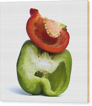 Peppers Wood Print by Bernard Jaubert