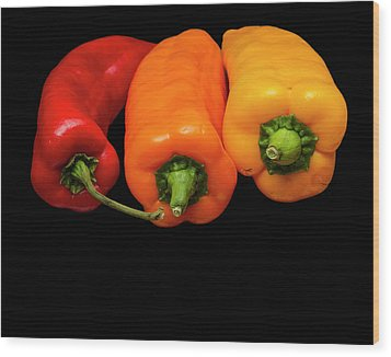 Wood Print featuring the photograph Peppers Red Yellow Orange by David French