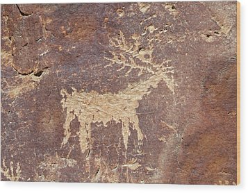 Petroglyph - Fremont Indian Wood Print by Breck Bartholomew