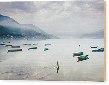 Phewa Lake In Pokhara, Nepal Wood Print