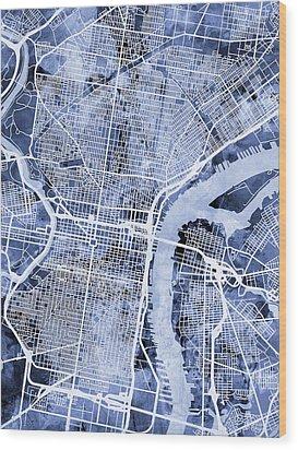Philadelphia Pennsylvania City Street Map Wood Print by Michael Tompsett