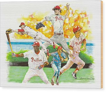 Phillies Through The Ages Wood Print by Brian Child