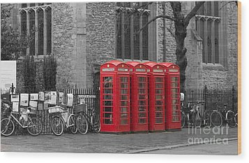 Phonebox In Red Wood Print by David Warrington