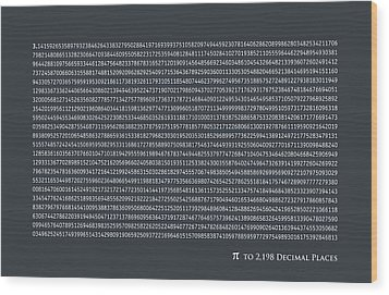 Pi To 2198 Decimal Places Wood Print by Michael Tompsett