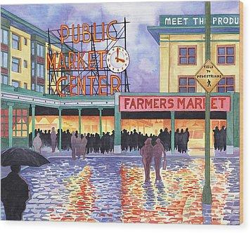 Pike Place Lights Wood Print