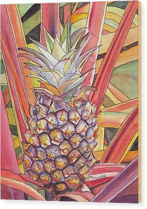 Pineapple Wood Print by Marionette Taboniar