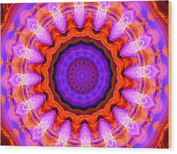 Pink 16-petals Kaleidoscope Wood Print by Ernst Dittmar