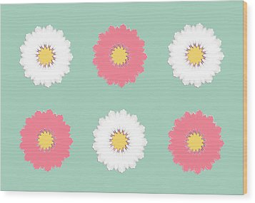 Wood Print featuring the digital art Pink And White by Elizabeth Lock