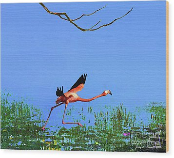 Pink Flamingo Wood Print by Jerry L Barrett