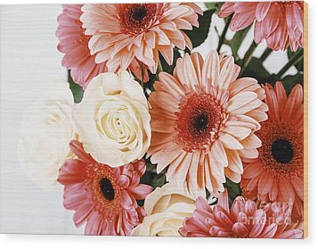 Pink Gerbera Daisy Flowers And White Roses Bouquet Wood Print by Radu Bercan