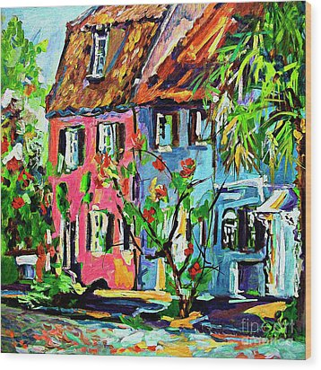 Wood Print featuring the painting Pink House On Chalmers Street Charleston South Carolina by Ginette Callaway