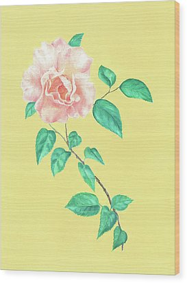 Wood Print featuring the painting Pink Rose by Elizabeth Lock
