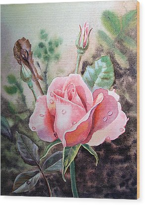 Wood Print featuring the painting Pink Rose With Dew Drops by Irina Sztukowski