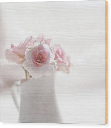Pink Roses Wood Print by Jill Ferry