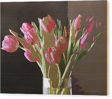 Pink Tulips In Glass Wood Print by David Lloyd Glover