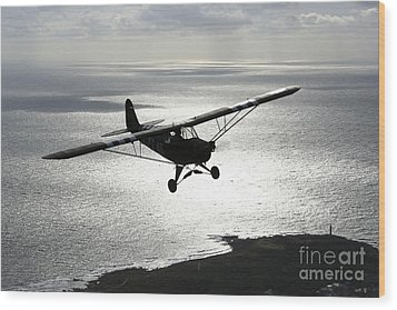 Piper L-4 Cub In Us Army D-day Colors Wood Print by Daniel Karlsson