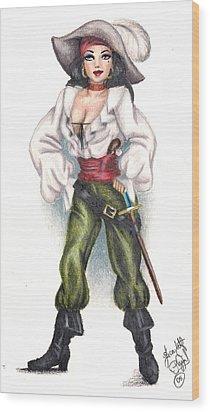 Pirate Girl Wood Print by Scarlett Royal