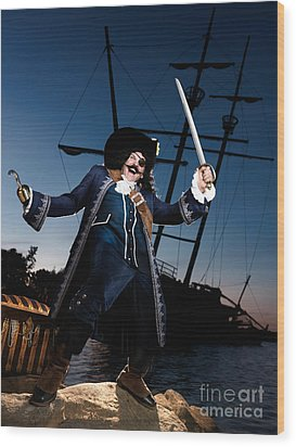 Pirate With A Treasure Chest Wood Print by Oleksiy Maksymenko