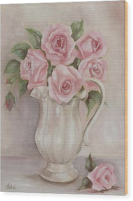 Pitcher Of Roses Wood Print