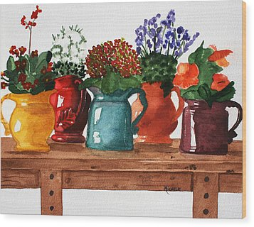 Pitchers In Bloom Wood Print