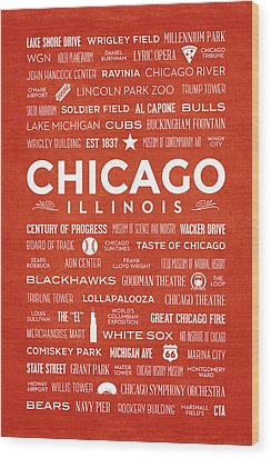 Wood Print featuring the digital art Places Of Chicago On Orange Chalkboard by Christopher Arndt