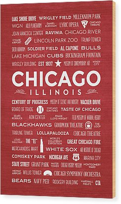 Wood Print featuring the digital art Places Of Chicago On Red Chalkboard by Christopher Arndt