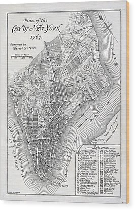 Plan Of The City Of New York Wood Print by American School